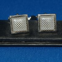 Cufflinks - Black and White Checked